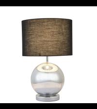 Tischleuchte mit Glaskugel-Fuß und braunem Lampenschirm