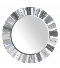 runder Wandspiegel mit wellenförmigem verspiegelten Rahmen
