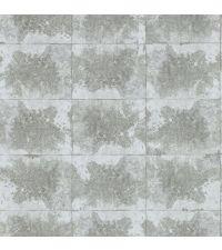 metallisch silber reflektierende Vliestapete in Beton-Optik,