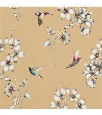 Tapete mit Kolibris und Ästen, Hintergrund metallisch gold