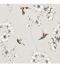 Tapete mit Kolibris und Ästen, Hintergrund metallisch silber