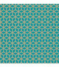Vliestapete mit geometrischer Musterung, Tapete Trellis mit kleinen Perlen, türkis