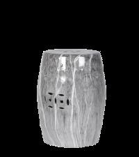 schimmernder Keramikhocker in grauer Marmor-Optik mit Cut-Outs