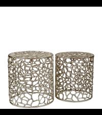 silber glänzendes Hocker-Set mit Verästelung