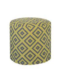 hellgrüner Pouf mit appliziertem geometrischen Muster