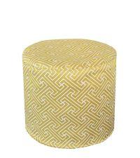 goldgelb-farbener Pouf mit weißem geometrischen Muster