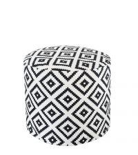schwarz-weißer Pouf mit geometrischen Muster