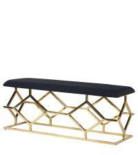 elegante Sitzbank mit goldenem symmetrischem Gerüst und schwarzer Sitzfläche