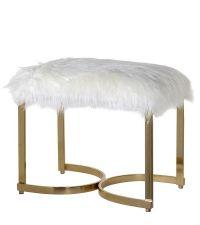 edle Sitzbank mit unechtem Schaffell und goldenen, geschwungenen Füßen, golden