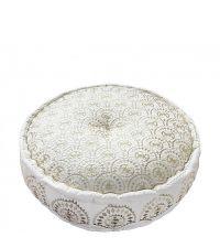Pouf mit orientalischem Muster und Metallic-Look, weiß/gold