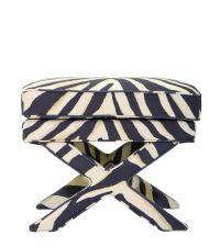 rechteckiger Stoff-Hocker mit Zebra-Print, gekreuzten Beinen und Kederrand, beige/anthrazit