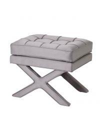 rechteckiger Stoff-Hocker aus silber-grauem Satin mit Keder, extra Polsterung mit Knopfheftung und gekreuzten Beinen