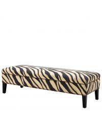 Sitzbank mit Zebra-Print, kupferfarbenen Nieten-Details und schwarzen Holzfüßen, Eichholtz
