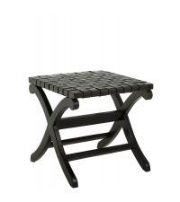Hocker aus schwarzem Holz mit Sitzfläche aus geflochtenem Leder