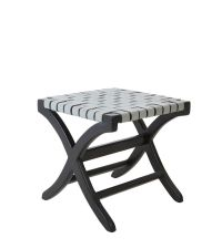 Hocker aus schwarzem Holz mit grauer Sitzfläche aus geflochtenem Leder