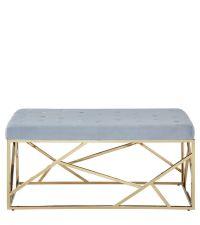 moderne Bettbank oder Sitzbank mit goldenem Rahmen mit Metallschrägen & Samtbezug, hellblau