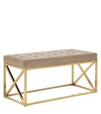 moderne Bettbank oder Sitzbank mit goldenem, gekreuzten Rahmen & Samtbezug, taupe