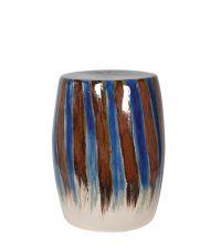runder Hocker oder Beistelltisch aus Keramik mit Farbverlauf, braun, blau & naturfarben
