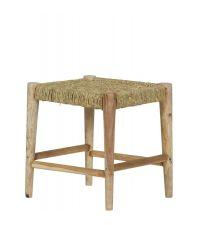 Hocker aus Holz mit geflochtener Sitzfläche, naturfarben