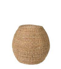 runder Hocker oder Beistelltisch aus Seegras, naturfarben