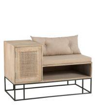 Sitzbank aus Mangoholz mit Stauraum, Türe mit gewobener Front aus Weide