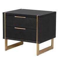 Nachttisch aus schwarzem Holz mit goldenen Füßen