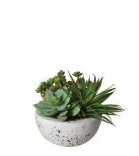 kleines Kunstpflanzengesteck, Sukkulenten in grauem Steintopf