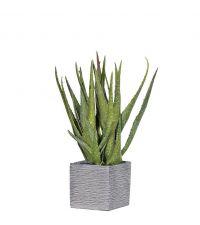 gesprenkelte künstliche Aloe Vera Pflanze in grauem Topf, Kunstblumengesteck