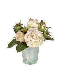 zartes Kunstblumengesteck in silberner Vase, weiße Rosen
