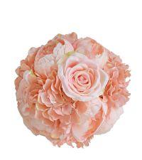 Kugelstrauß mit Hortensien und Rosen in Rosa