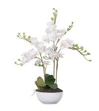 großes Kunstblumengesteck in weiß, Orchideengesteck in weißem Keramiktopf
