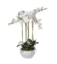 großes, prächtiges Orchideengesteck, weißes Kunstblumengesteck in cremeweißem, runden Blumentopf