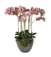 riesiges, prächtiges Kunstblumengesteck im Glastopf, künstliche Orchidee mit rosa Blüten