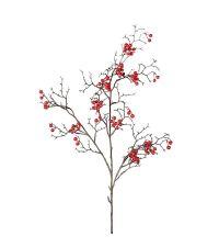großer Dekozweig mit roten Deko-Beeren