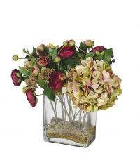 Kunstblumengesteck aus Hortensien, Hahnenfuß & Sedum in Glasvase