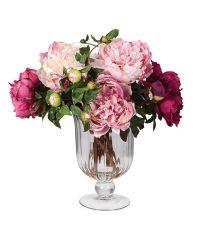 großes Kunstblumengesteck aus pinken & rosa Pfingstrosen in Glasvase