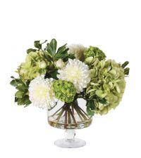 prächtiger Kunstblumenstrauß aus weißen & grünen Hortensien & Dahlien in Glasvase