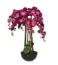großes, künstliches Orchideengesteck in schwarzem Keramiktopf, magenta