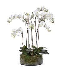 großes Kunstblumengesteck, Orchidee mit Glasvase weiß