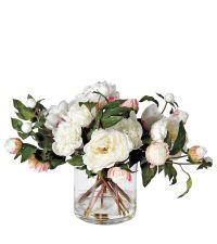 üppiges Kunstblumengesteck aus weißen Rosen & Pfingstrosen mit Zylindervase