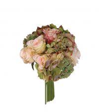 Kunstblumenstrauß aus Rosen & Hortensien, rosa & grün