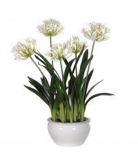 prächtiges Kunstblumengesteck, naturweiße Schmucklilien mit Keramiktopf