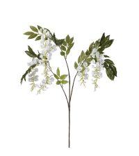 weißer Kunstblumenzweig Glyzinienzweig mit grünen Blättern