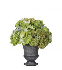 edles Kunstblumengesteck aus Hortensien und Sedum in dunkelgrauem Topf