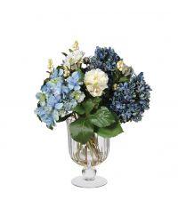 Kunstblumengesteck aus blauen Rosen & Hortensien in gerillter Glasvase