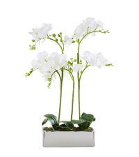 Orchideen-Kunstblumengesteck in länglichem, metallischen Topf, weiß & silber