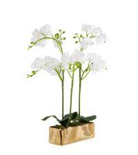 Orchideen-Kunstblumengesteck in länglichem, metallischen Topf, weiß & gold