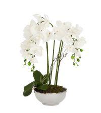 Kunstblumengesteck weiße Orchidee in rundem, metallischen Topf, weiß & silber