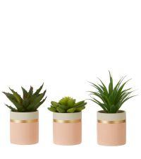 3er Set künstliche Sokkulente mit Keramiktopf in rosa, weiß & gold