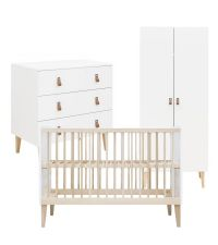 Babyzimmer-Set bestehend aus einem Babybett, einer Kommode & einem Kleiderschrank aus Buchenholz & weißem Holz